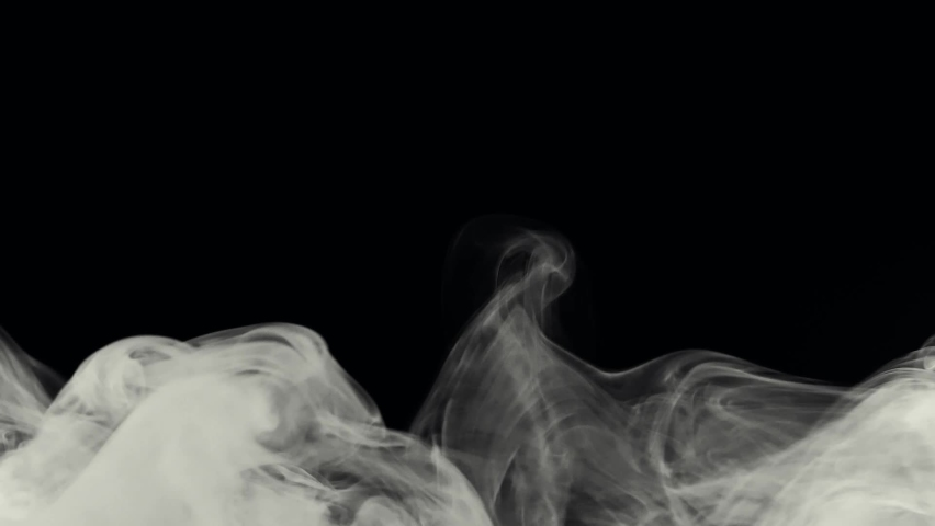 Plume of smoke fog vapor effect realistic video footage animation overlay dark background | Shutterstock HD Video #1076707001
