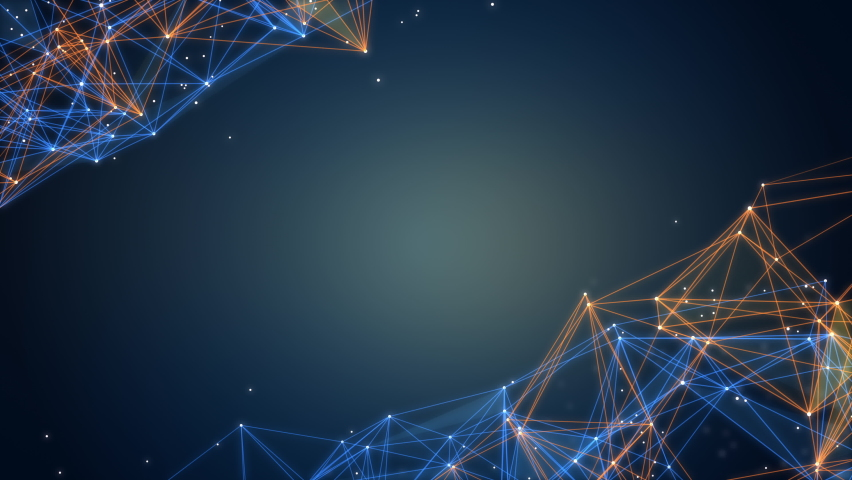 Abstract polygon background, Blue and orange colors, Technology and futuristic concepts, Empty space, 4k Resolution.   Shutterstock HD Video #1076710118