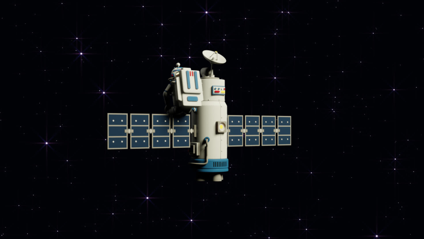 Cosmonaut and satellite in open space. Cartoon 3d astronaut in space waving his hand in greeting. 3d looped animation.   Shutterstock HD Video #1076711717