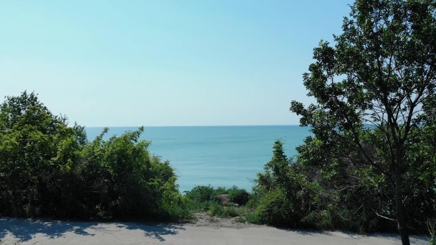 Blue Sky Over Calm Seascape In Balchik. Black Sea In Dobrich Province, Bulgaria. wide aerial drone   Shutterstock HD Video #1076735555