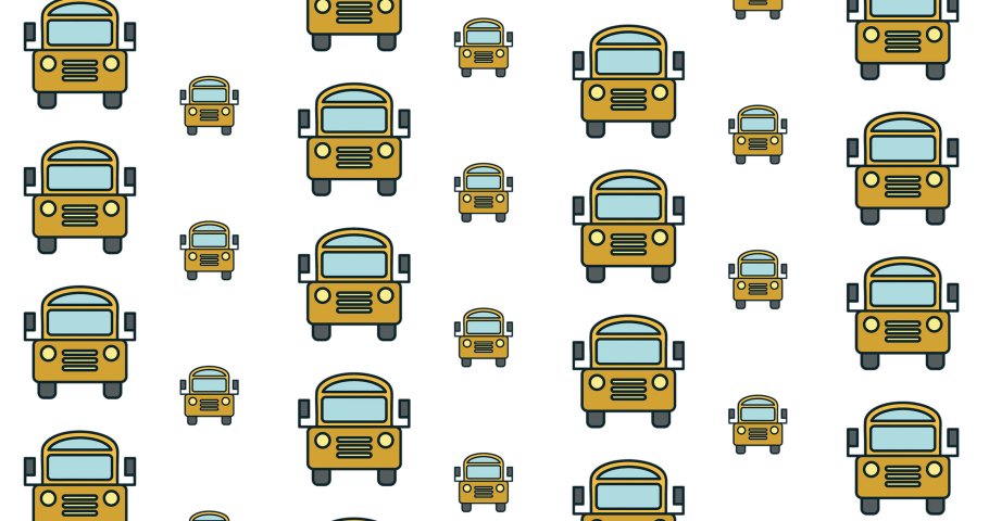 Animation of school bus icons moving on white background. school, education and study concept digitally generated video.   Shutterstock HD Video #1076766086