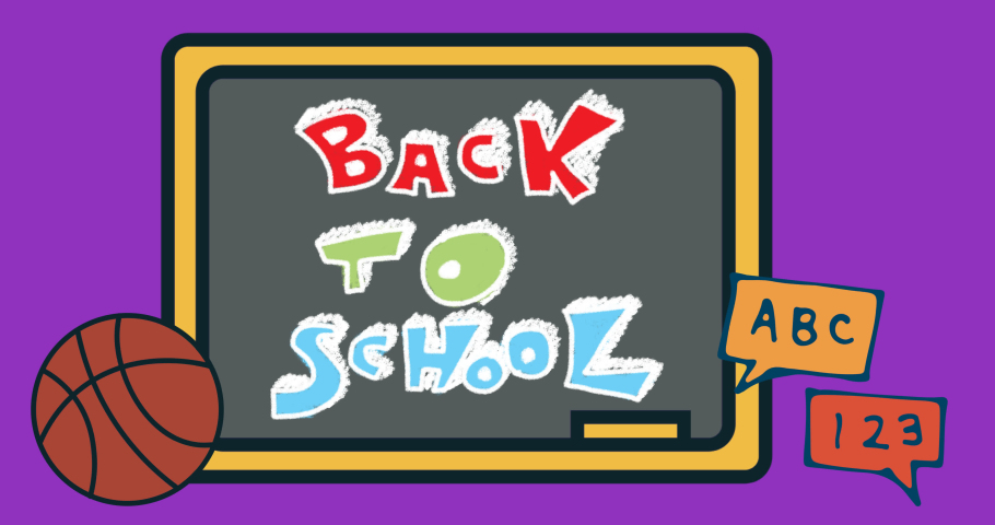 Animation of back to school text on purple background. school, education and study concept digitally generated video.   Shutterstock HD Video #1076767547