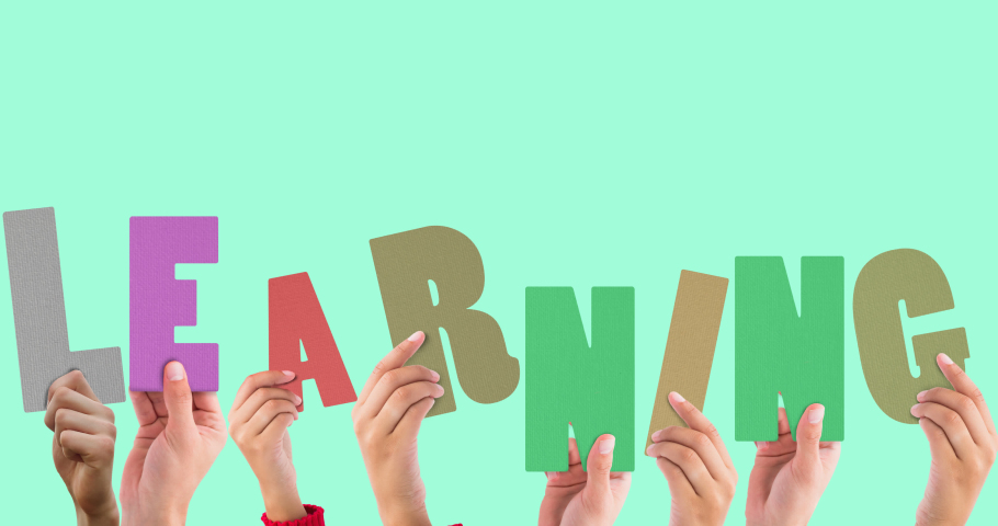 Animation of hands with learning text on green background. school, education and study concept digitally generated video.   Shutterstock HD Video #1076767550