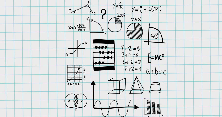 Animation of mathematical equations moving on white background. school, education and study concept digitally generated video.   Shutterstock HD Video #1076767583