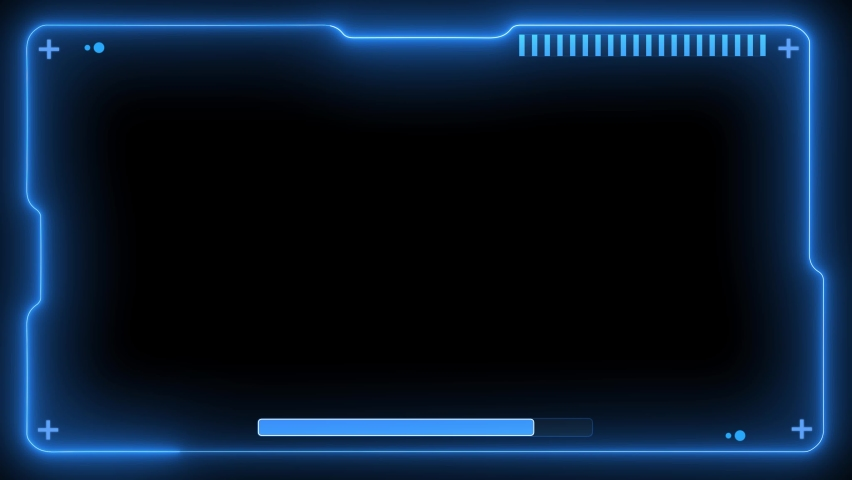 4K HUD Blue Futuristic Elements Virtual Hi Technology Future Frame Background Animation. Poor Interference Signal Screen User Control Interface Panel. Motion Game Display Abstract VHS Noise.   Shutterstock HD Video #1076782883