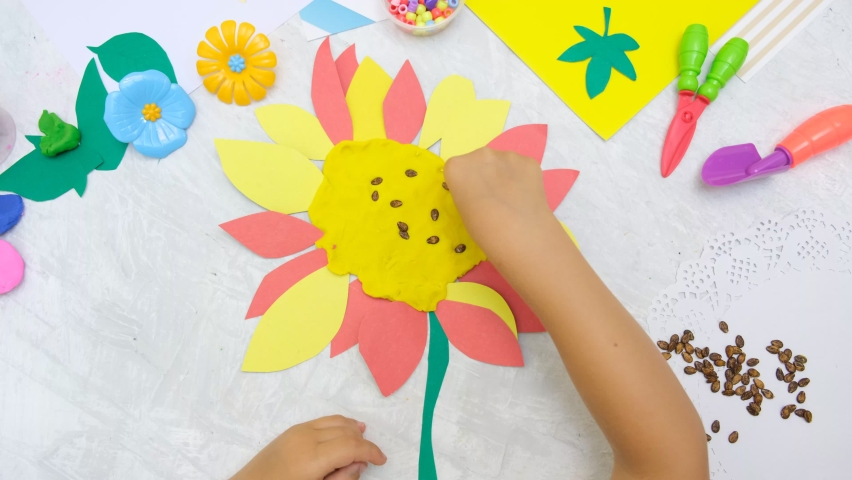 DIY home made Sunflower from paper, plasticine with natural watermelon seeds. reuse that what you have.  Kindergarten and school development. Childrens art project, handmade  | Shutterstock HD Video #1076800613