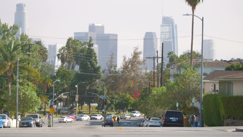 Street in Los Angeles with downtown view | Shutterstock HD Video #1076823383