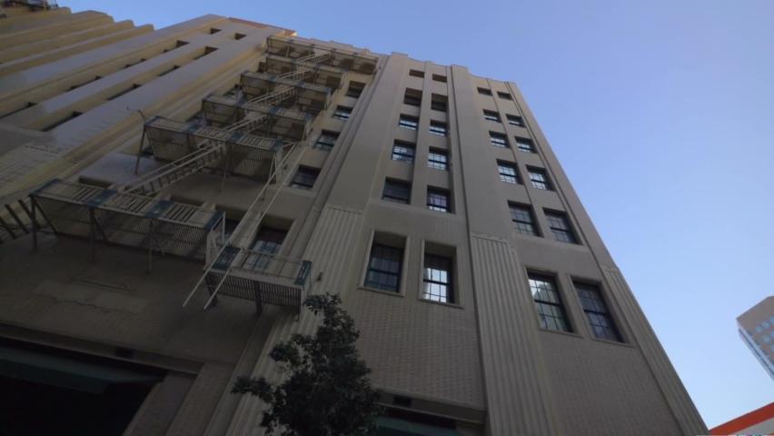 Car POV on skyscrapers in Los Angeles in slow motion  | Shutterstock HD Video #1076823596