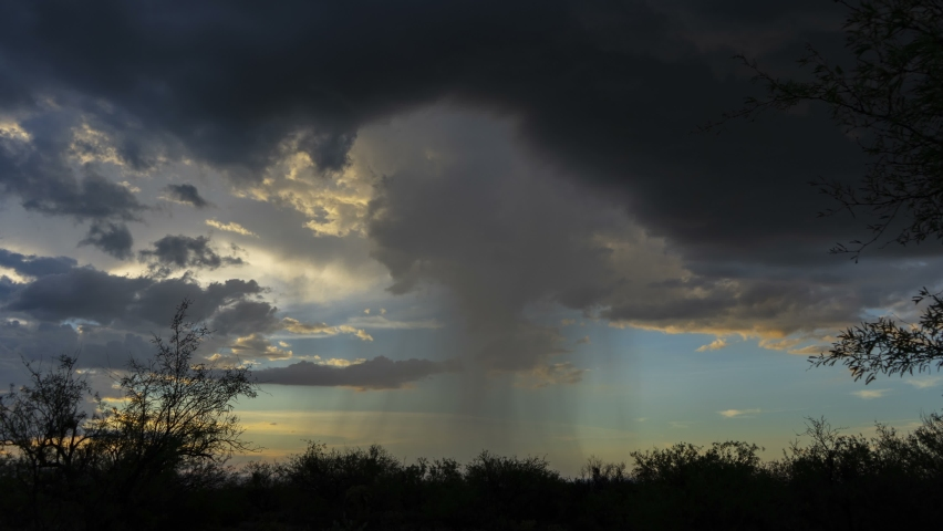 Time lapse of a rain shaft during a desert monsoon storm