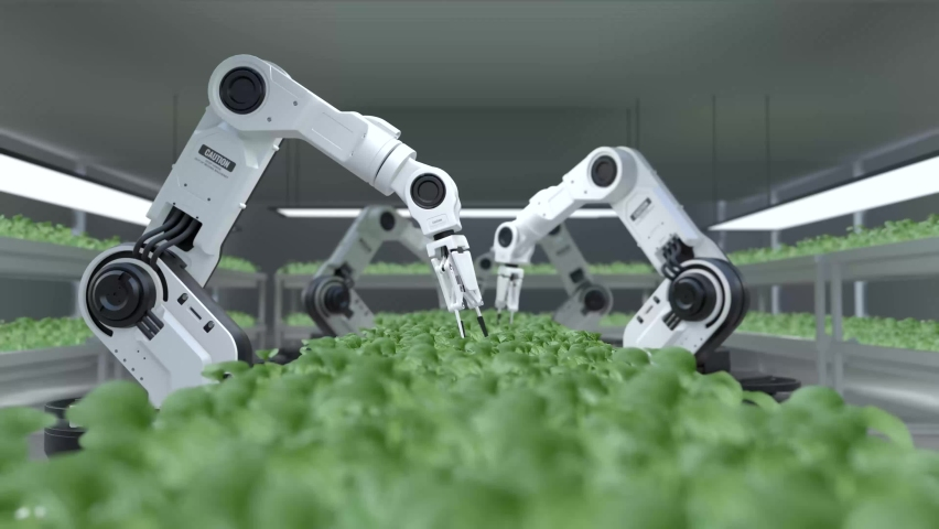 Smart robotic farmers concept, robot farmers, Agriculture technology, Farm automation Royalty-Free Stock Footage #1076877854