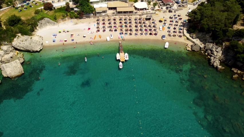 Aerial view of Liapades beach near Palaiokastritsa on Corfu island, Greece.    Shutterstock HD Video #1076900315
