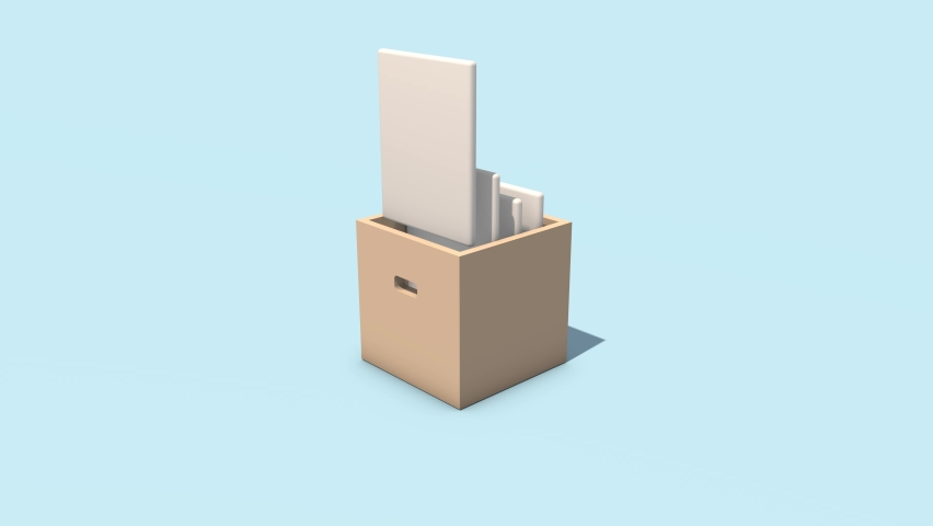 3D animation of an office box with folders. Icon on the theme of office work. Job search and resume sending. Animated icon for the business sphere. Royalty-Free Stock Footage #1076904434