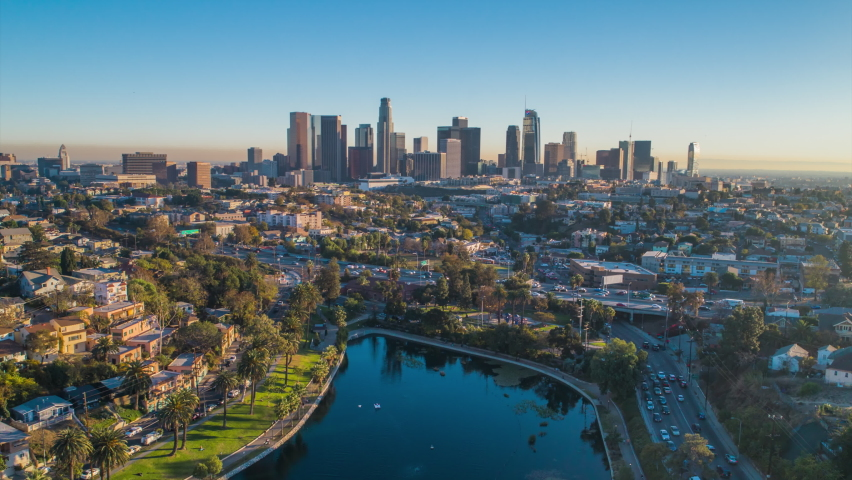 Cinematic urban aerial timelapse of downtown los angeles skyline | Shutterstock HD Video #1076909021