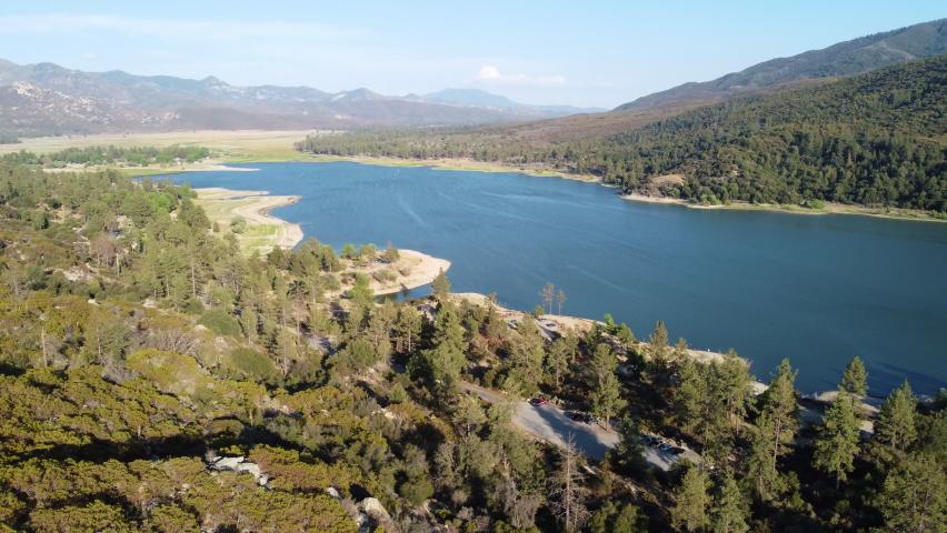 Majestic landscape and surroundings of lake Hemet, aerial drone viee | Shutterstock HD Video #1076917463