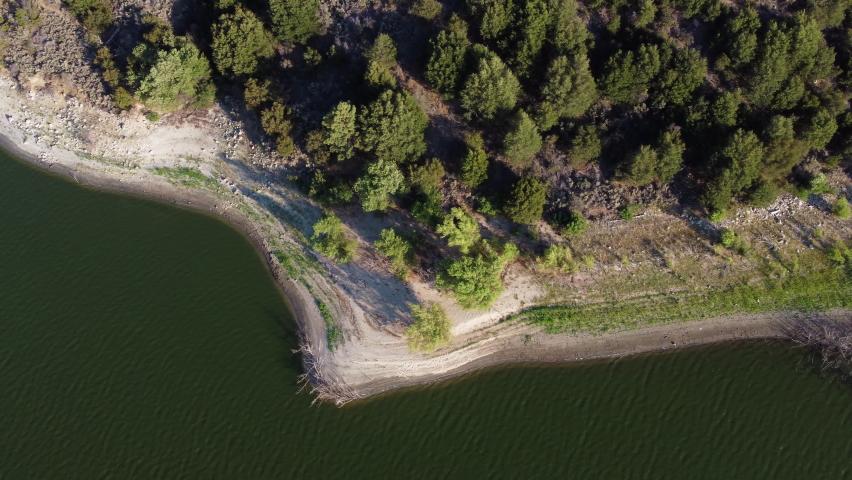 Coastal forest near lake Hemet, top down aerial view | Shutterstock HD Video #1076917973
