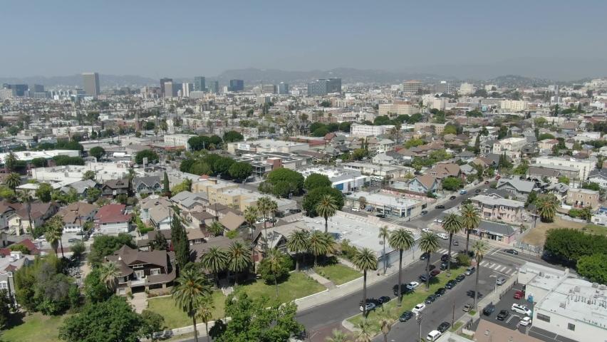 Aerial Los Angeles Pico Union Towards Wilshire Center Forward California USA | Shutterstock HD Video #1076924876