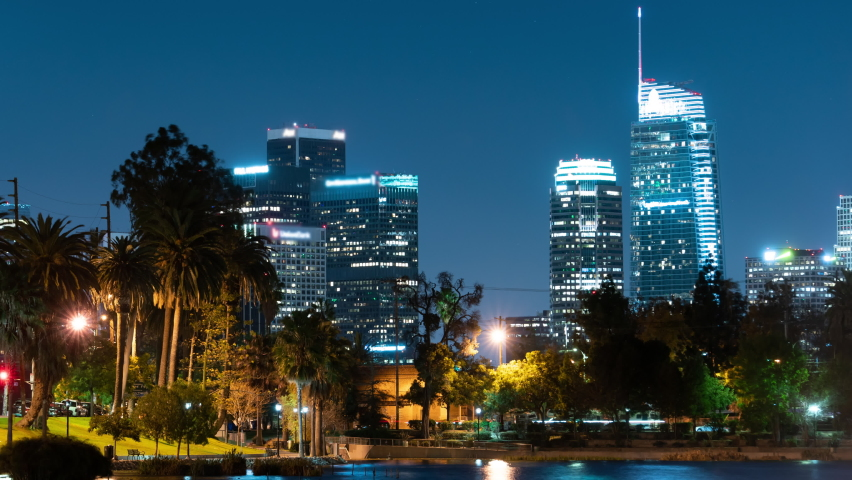 Los Angeles Downtown Skyscrapers Palm Trees Echo Park Night Time Lapse California USA | Shutterstock HD Video #1076925149