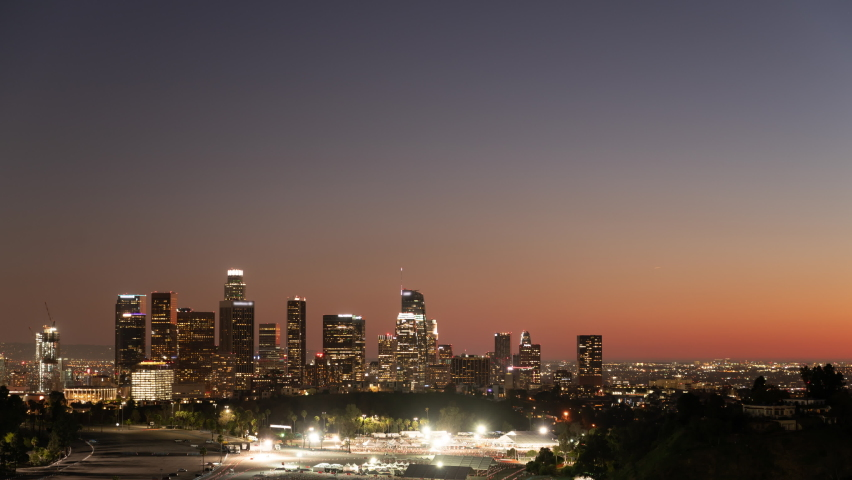 Los Angeles Sunset to Night Holygrail Skyline from Elysian Park Time Lapse California USA | Shutterstock HD Video #1076925314
