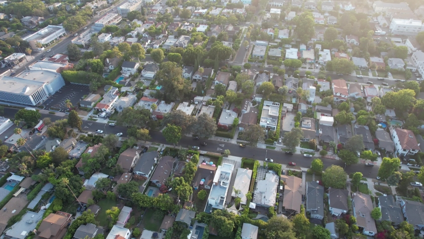 AERIAL VIEW OF SUNSET BLVD  SPAULDING SQUARE AND HOLLYWOOD | Shutterstock HD Video #1076971448