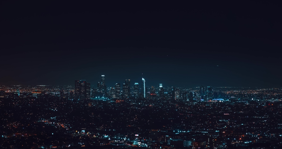 Los Angeles downtown timelapse at night. Big city in the USA | Shutterstock HD Video #1076997881
