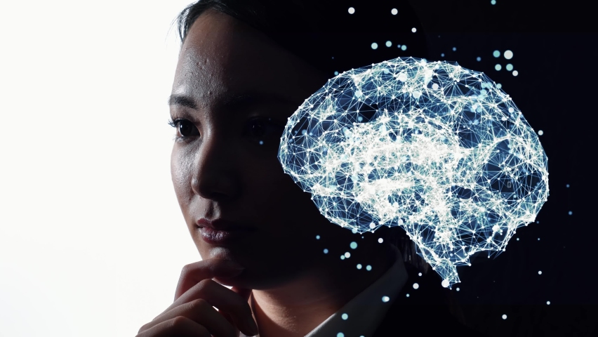 AI (Artificial Intelligence) concept. Communication network. Royalty-Free Stock Footage #1077047567