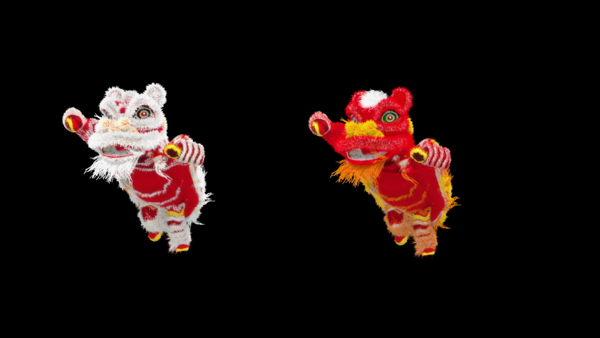 Lion Dancing, Chinese New Year, dragon, Merry christmas and happy new year, 3d rendering, Snowman, santa claus Dancing, Animation Loop, cartoon, included in the end of the clip with Alpha matte. | Shutterstock HD Video #1077076802