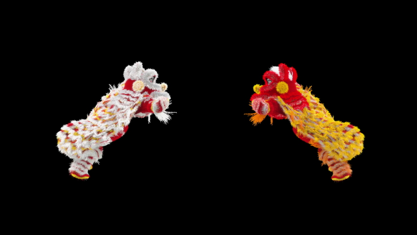Lion Dancing, Chinese New Year, dragon, Merry christmas and happy new year, 3d rendering, Snowman, santa claus Dancing, Animation Loop, cartoon, included in the end of the clip with Alpha matte. | Shutterstock HD Video #1077076805