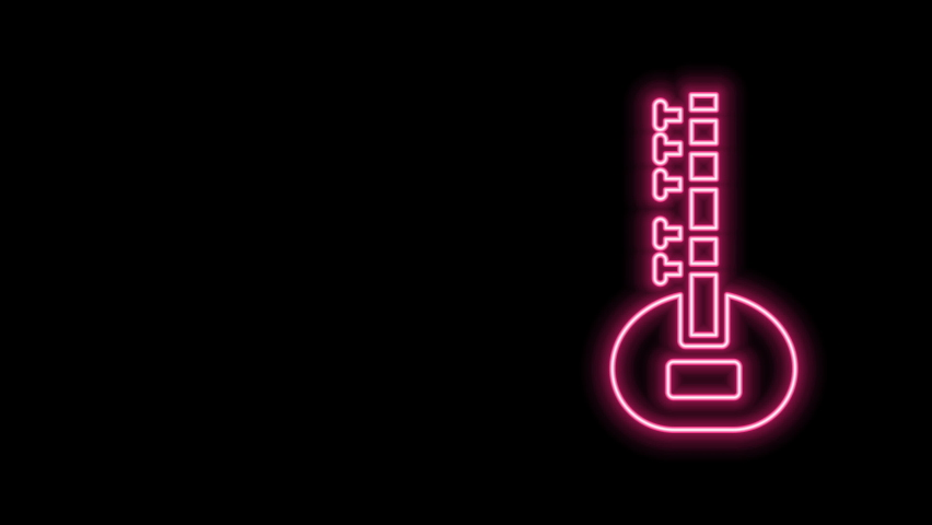 Glowing neon line Sitar classical music instrument icon isolated on black background. 4K Video motion graphic animation. | Shutterstock HD Video #1077077579