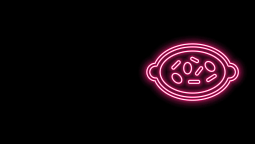 Glowing neon line Kheer in a bowl icon isolated on black background. Traditional Indian food. 4K Video motion graphic animation. | Shutterstock HD Video #1077077627