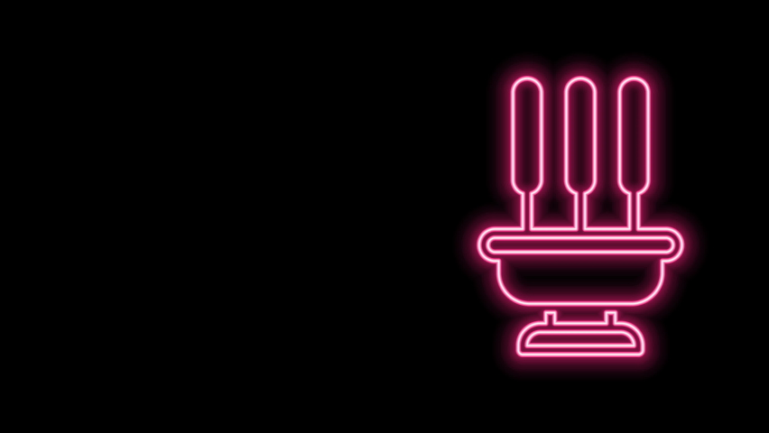 Glowing neon line Burning aromatic incense sticks icon isolated on black background. 4K Video motion graphic animation. | Shutterstock HD Video #1077077648