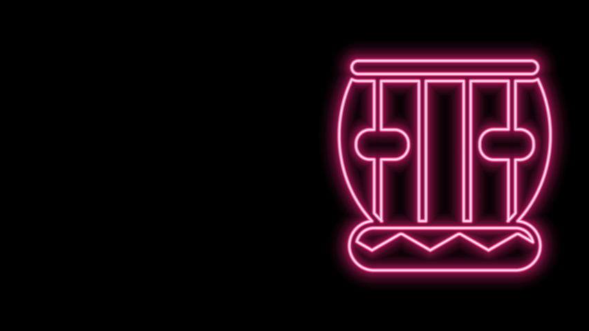 Glowing neon line Indian musical instrument tabla icon isolated on black background. 4K Video motion graphic animation. | Shutterstock HD Video #1077077657