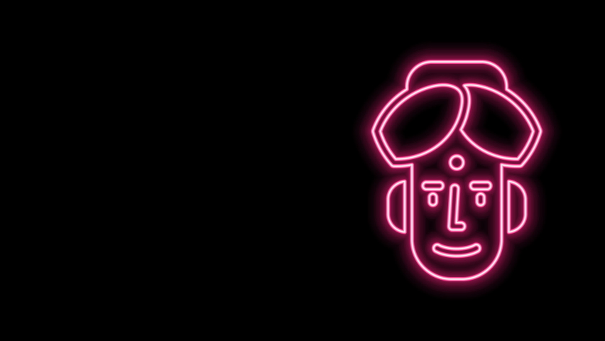 Glowing neon line Portrait of Indian man icon isolated on black background. Hindu men. 4K Video motion graphic animation. | Shutterstock HD Video #1077077714