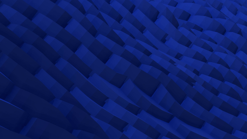 Stylish creative abstract low poly background. Abstract dark blue 3D geometric pattern wave motion loop background. 4K seamless loop animation of digital simple minimalist geometric low polygon wave.