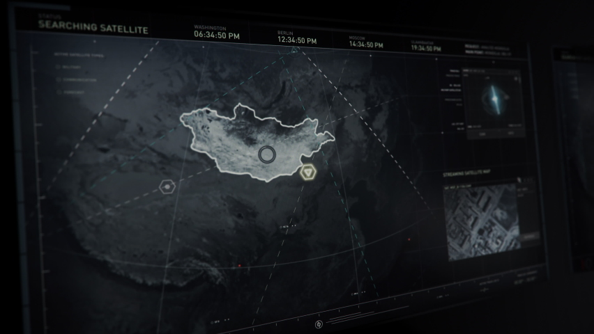 Newest Spying tech. Tech is Analyzing the 3D Recreated Planet Earth. Highlighting the Area for the Search of the Vulnerable Satellite Signals. The Footage of the Air Base in Kazakhstan. Complex tech.   Shutterstock HD Video #1077512264