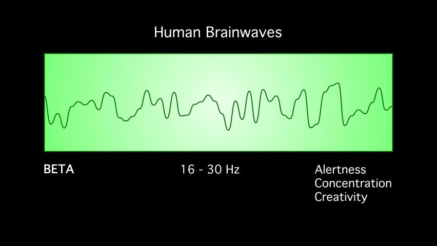 Beta Human Brain Waves Diagram Illustration Animation on Black Background Royalty-Free Stock Footage #1077541466