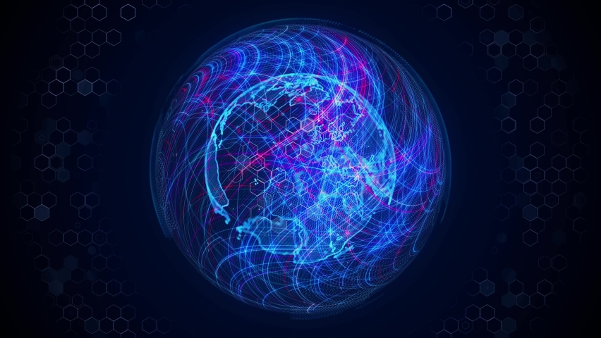 Global communication network concept. Planet earth in cyberspace. Royalty-Free Stock Footage #1077563654
