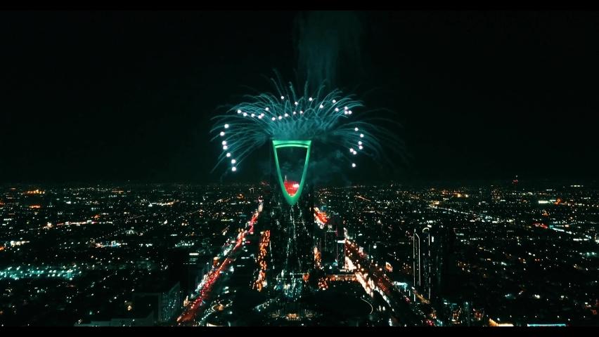 Fireworks during riyadh season, 2019, Riyadh-Saudi Arabia Royalty-Free Stock Footage #1077580115