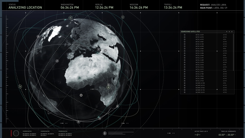 Working In Newest Spy System For Secret Surveillance In Motion Graphics. Motion Graphics While Getting Information About Libya Territory. Advanced User Interface With Motion Graphics. Satellite Data.   Shutterstock HD Video #1077777590