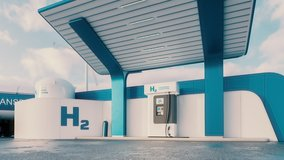 Future of hydrogen energy. Hydrogen gas station with truck, jet and city in the background. 3d rendering clip