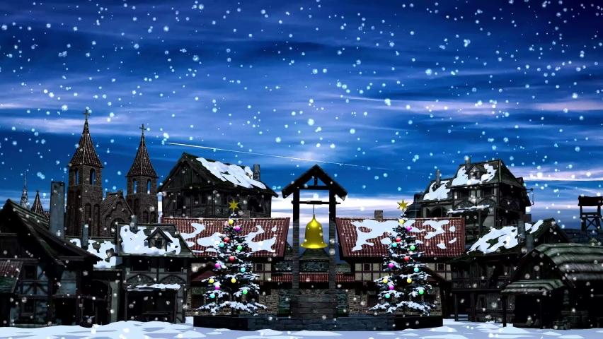 Christmas Snowfall Winter Season Fantasy Wonderland Village Animation Background 4K Video Footage Screensaver   Shutterstock HD Video #1077876194
