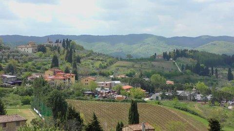Beautiful Italian landscape in Tuscany in the famous Chianti wine area