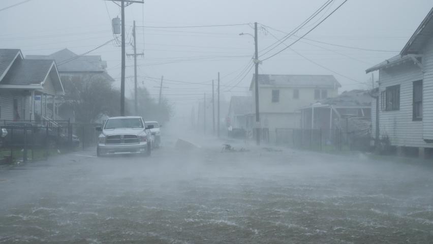 Houma, Louisiana USA - August 29 2021: Hurricane Ida Storm Surge Floods Town During Category 4 Storm