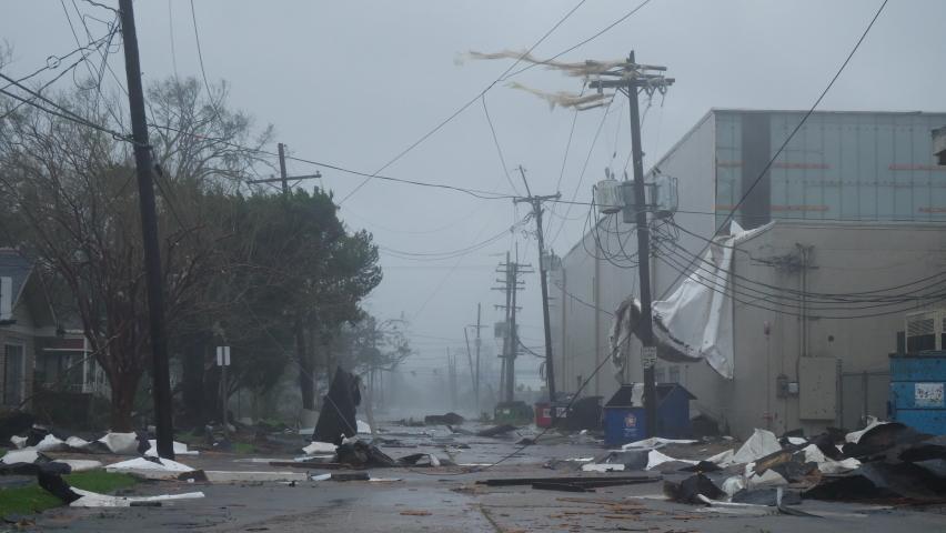 Hurricane Ida Ravages Houma, Louisiana USA As A Category 4 Storm
