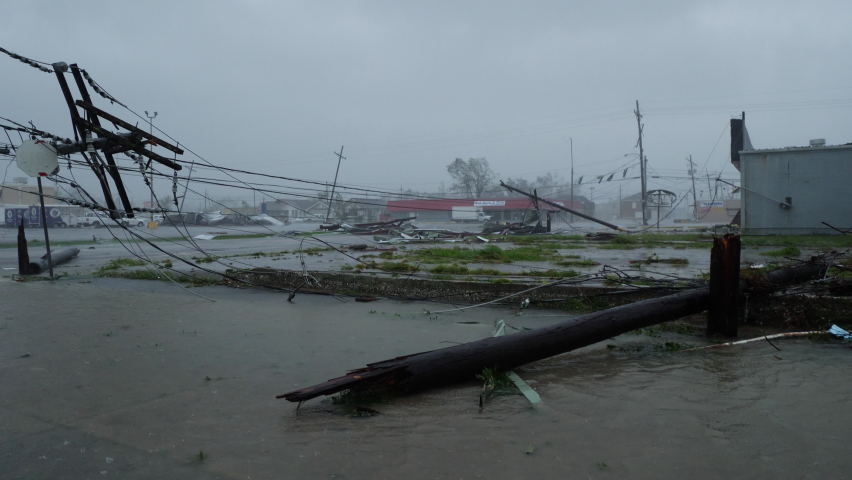 Hurricane Ida Damages Power Lines In Houma, Louisiana USA During Category 4 Wind Gusts
