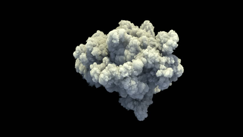 4K slow motion smoke explosion, shockwave effect isolated on black background, top view with alpha