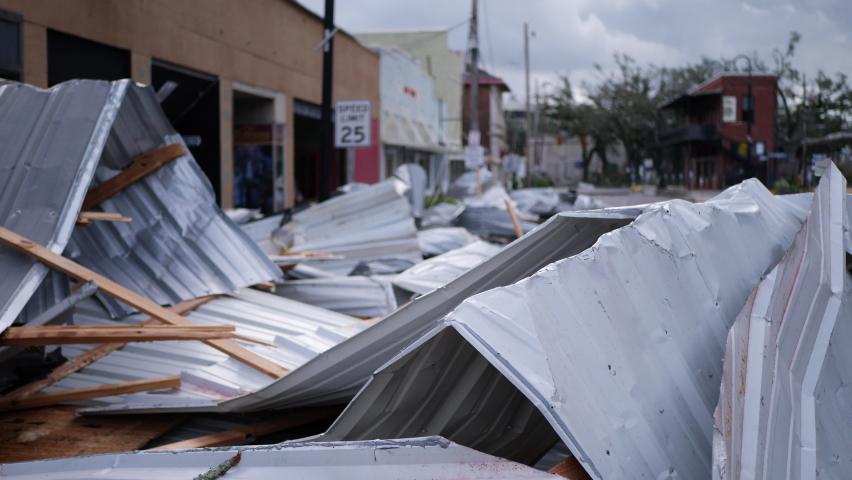 Houma, Louisiana USA - August 29 2021: Hurricane Ida Ravages Town As A Category 4 Storm
