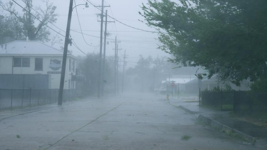 Houma, Louisiana USA - August 29 2021: Hurricane Ida Blows Debris Through Town During Category 4 Winds