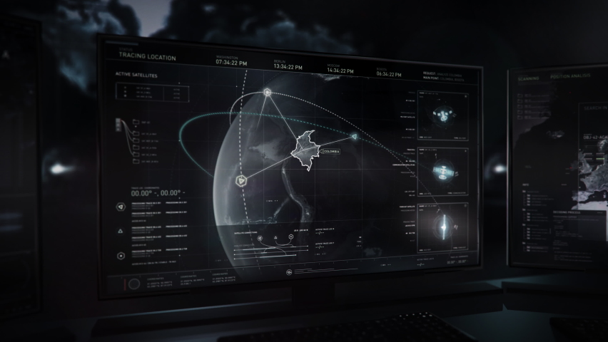 Special forces are using the newest network searching system. Searching for the location of satellite networks on the map. Search process has found network connections in Colombia. User Interface.   Shutterstock HD Video #1078575302