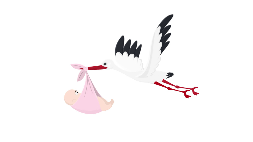 Stork with a child. Animation of a flying stork with a baby, the alpha channel is turned on. Cartoon