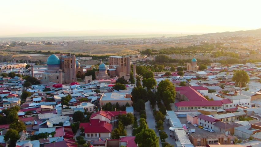 Distant View Of Ornamental Public Square Of Registan With Historic Madrasas In Samarkand, Uzbekistan. aerial Royalty-Free Stock Footage #1078853258
